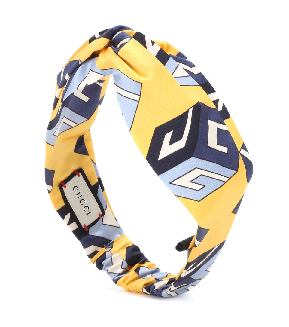GUCCI Wallpaper Print Knot Front Headband in Sue
