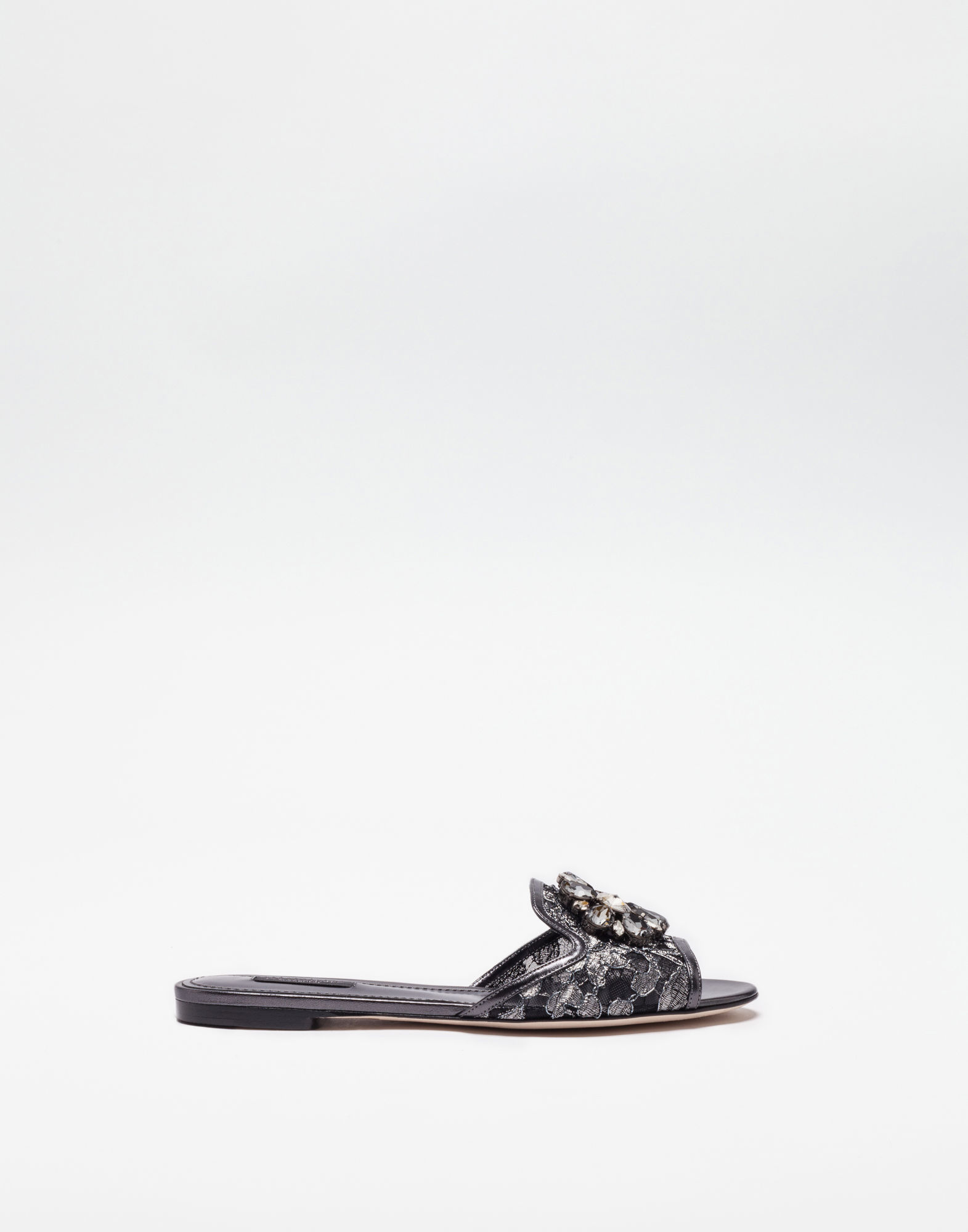 Embellished Corded Lace And Lizard-Effect Leather Slides, Grey