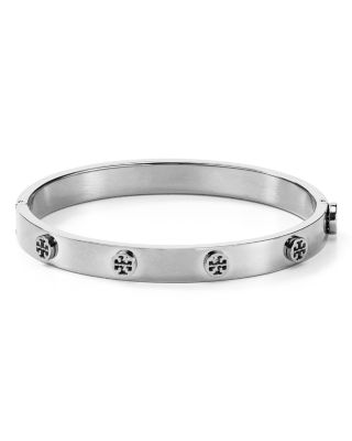 Logo Studded Hinge Bangle, Silver