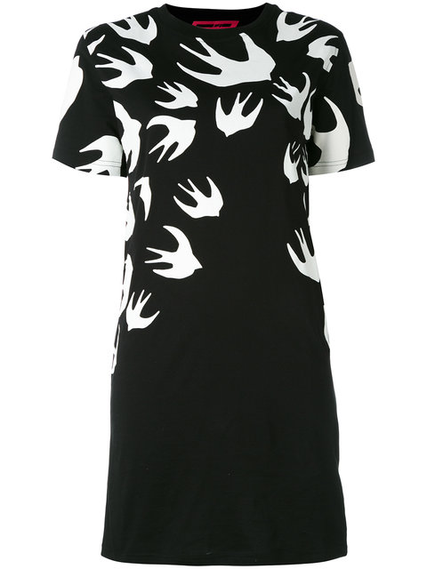 Mcq Alexander Mcqueen Swallow Signature T-Shirt Dress - Black