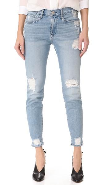 Woman Distressed Mid-Rise Skinny Jeans Light Denim in Blue