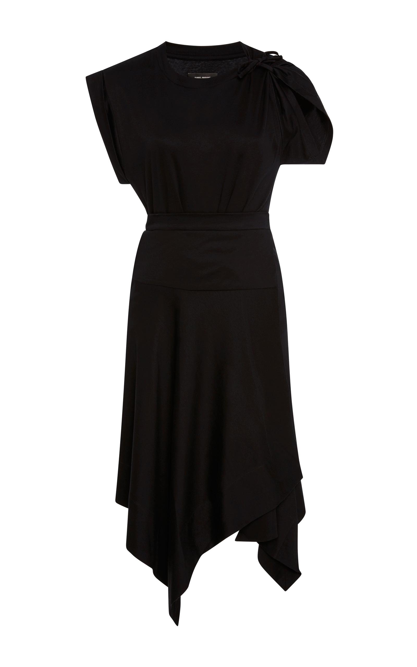 ISABEL MARANT Loko Cotton Jersey Wrap Dress in Black