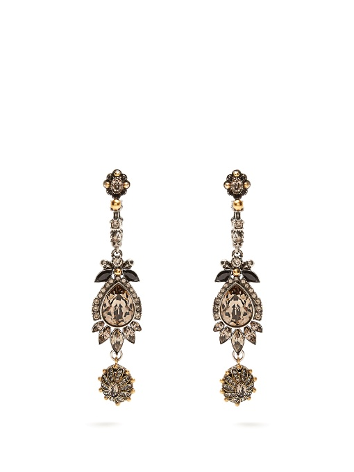 Alexander McQueen Crystal-embellished beetle-drop earrings URZZMl