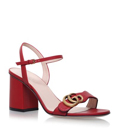GUCCI Embellished Leather Sandals in Hiliscus Red