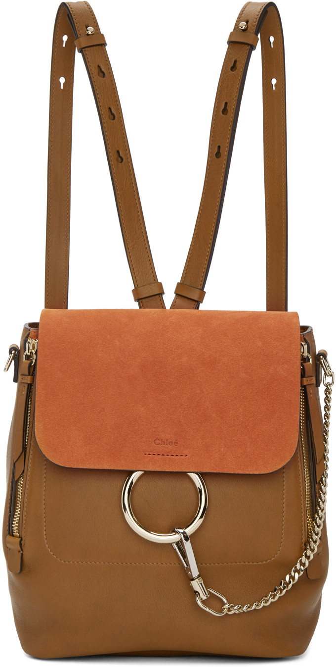 'Faye' Small Suede Flap Leather Backpack, Tan