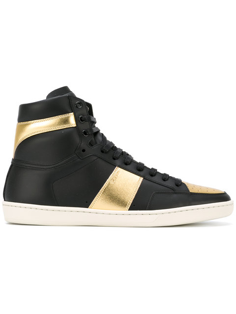 SAINT LAURENT Black & Gold Court Classic Sl/10H High-Top Sneakers