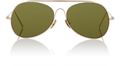 ACNE STUDIOS Spitfire Large Aviator Sunglasses in Colour: Green And Pale Gold