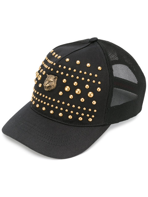 GUCCI Studded Tiger'S Head Baseball Cap
