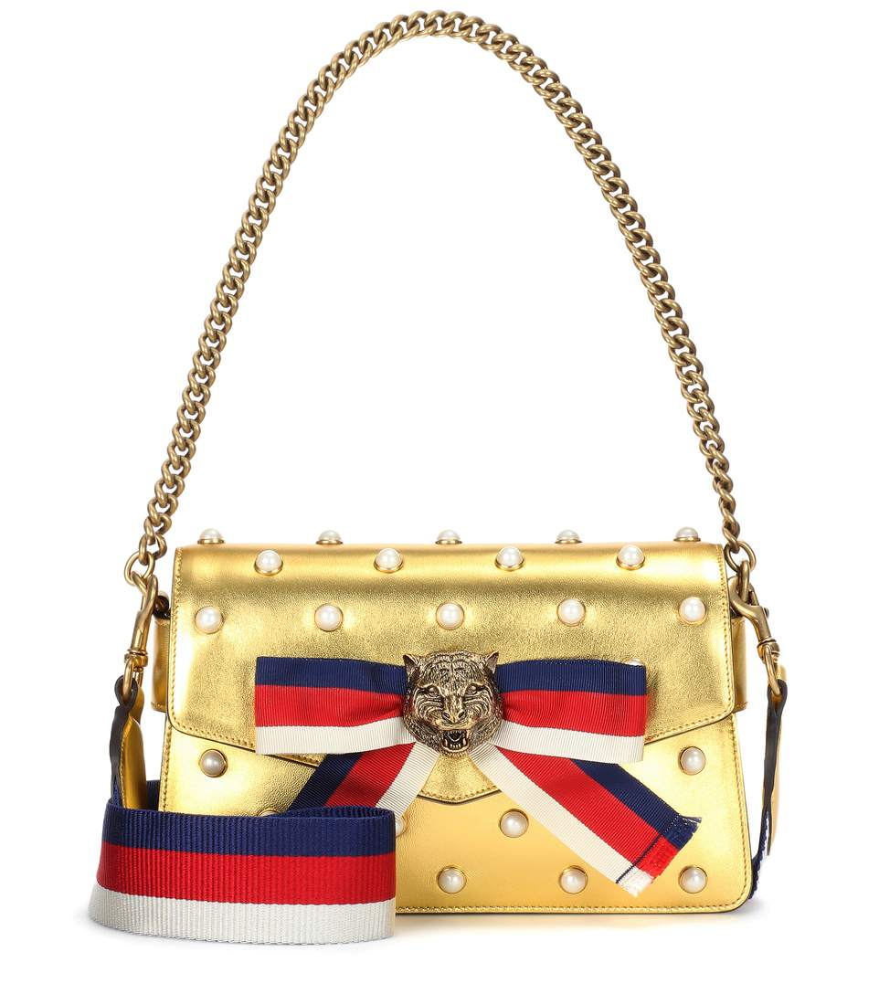 GUCCI Broadway Faux Pearl-Embellished Metallic Leather Clutch in Mystic White