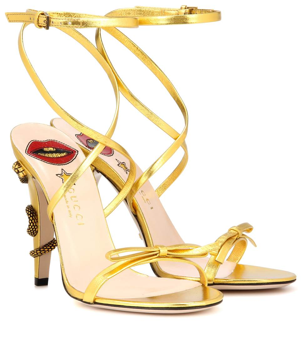 GUCCI Embellished Leather Sandals in Gold Leather