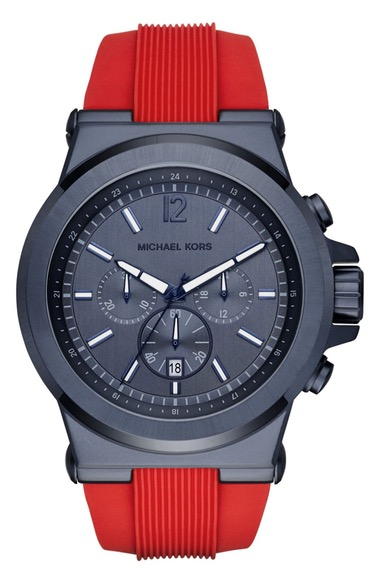 MICHAEL MICHAEL KORS Men'S Michael Kors 'Dylan' Chronograph Silicone Strap Watch, 48Mm in Red/ Blue