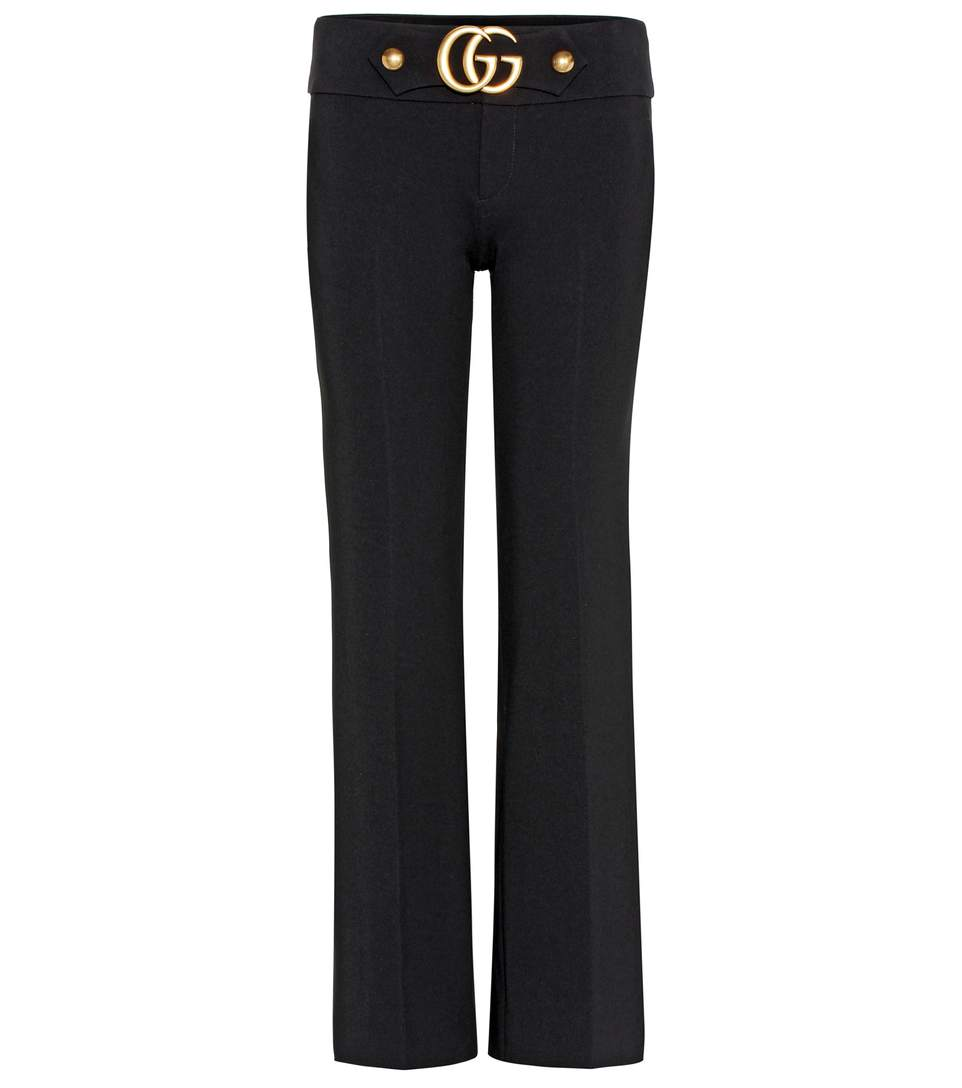 GUCCI Gg Stretch-Cady Kick-Flare Trousers in Llack