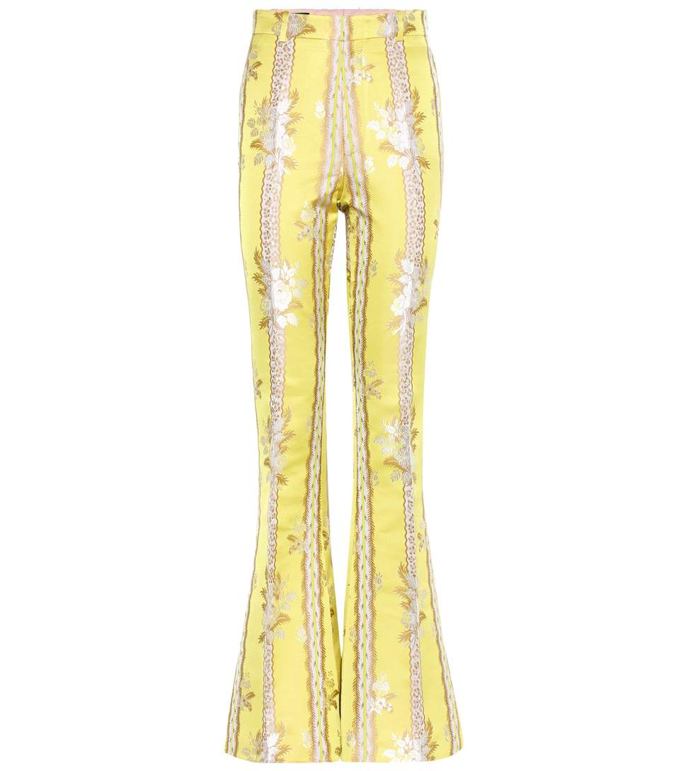 GUCCI Silk And Cotton Flared Trousers in Pastel Yellow