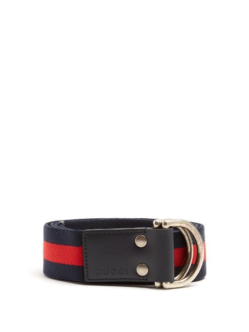 330292114c8 GUCCI D-Ring Striped Canvas Belt
