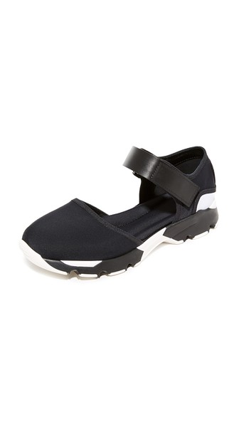 MARNI Mary Jane Flats in Black/Lily