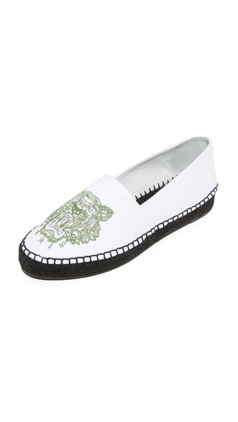 KENZO Optic White Canvas Tiger Espadrilles