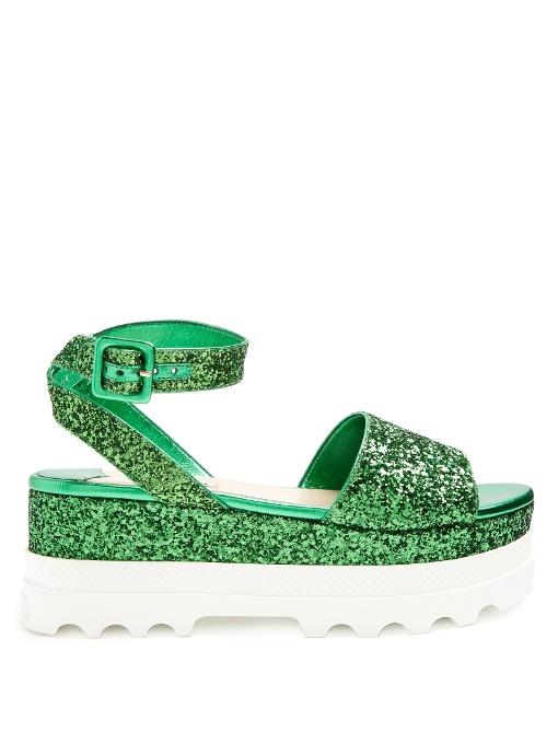 MIU MIU Bi-Colour Glitter Flatform Sandals in Colour: Emerald-Green