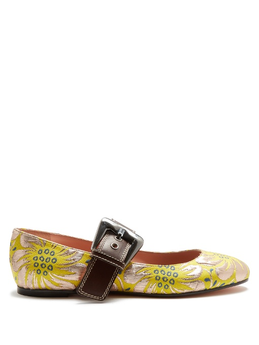 ROCHAS Mary-Jane Floral Brocade Flats in Colour: Yellow