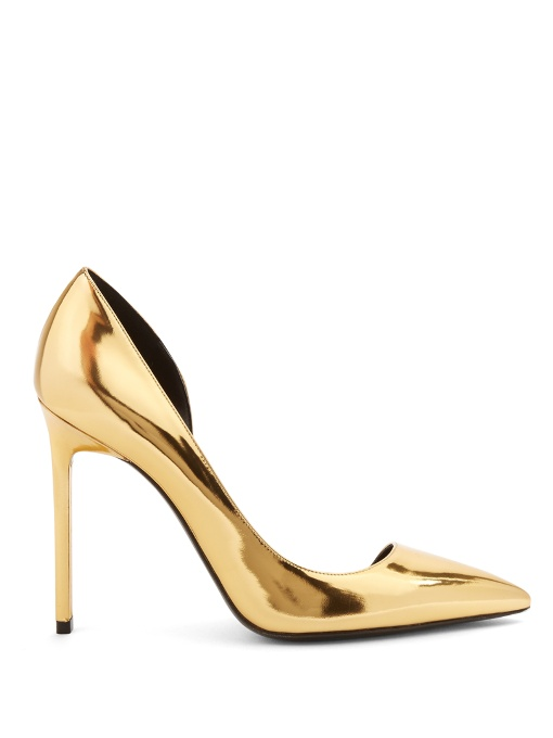 SAINT LAURENT Anya D'Orsay Metallic Patent-Leather Pumps in Gold