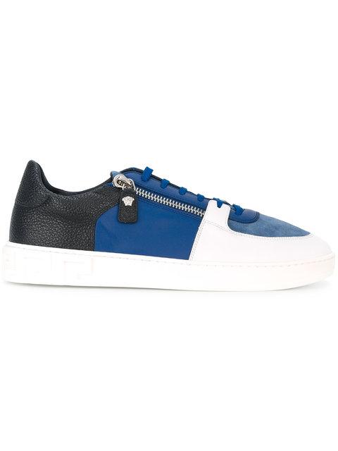 VERSACE Contrast Color Zip Leather Sneakers in D01Hp