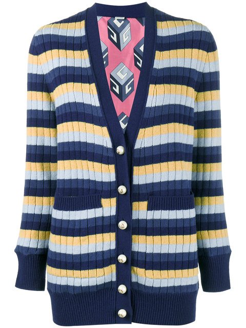 GUCCI Reversible Striped Wool And Printed Silk Cardigan in Blue