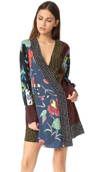 DIANE VON FURSTENBERG Floral & Dot Print Silk Jersey Dress, Multicolor,  Ampere Indigo/