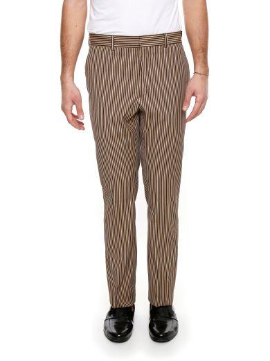 FENDI Striped Cotton Trousers in Moka/Grey Camel|Beige
