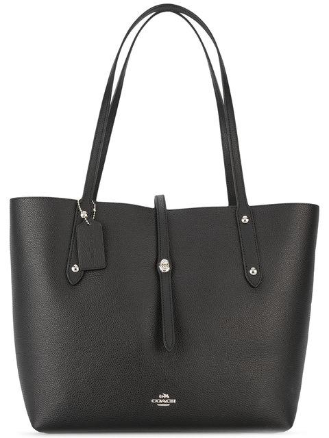 Market Black Leather Tote