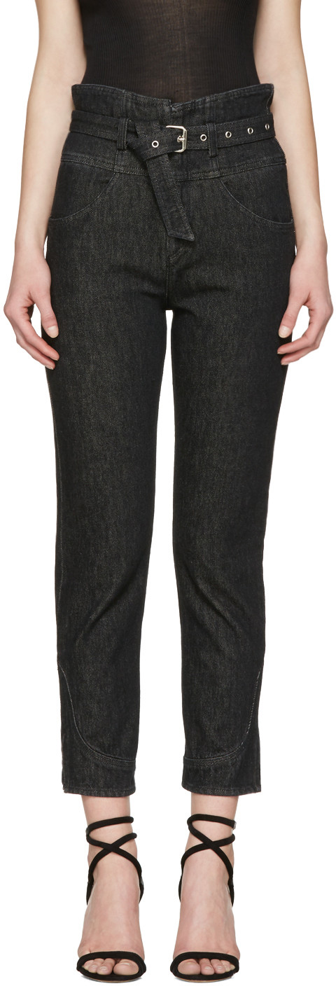 ISABEL MARANT Evera Belted High-Rise Straight-Leg Jeans in Colour: Washed-Black