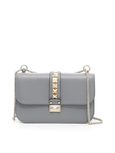 VALENTINO Medium Lock Bag in Titanio Grigio