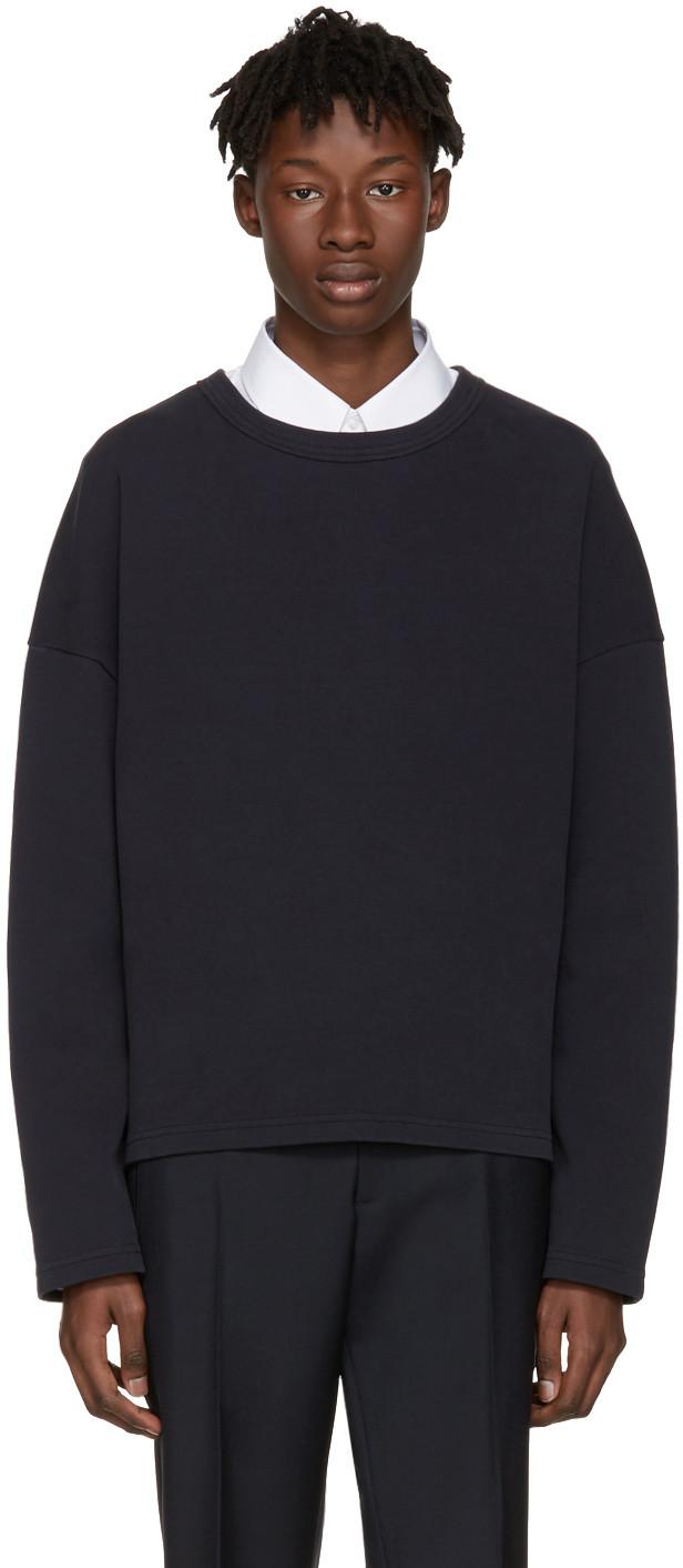 JIL SANDER Navy Piqué Pullover