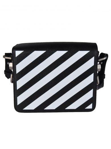 OFF-WHITE Diagonal Stripe Shoulder Bag in Nero/Bianco