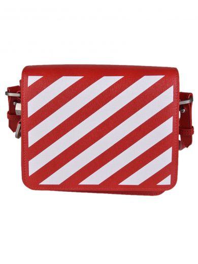 OFF-WHITE Diagonal Stripe Shoulder Bag in Rosso/Bianco