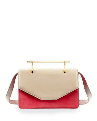 M2MALLETIER Indre Leather Satchel Bag, Ivory/Pink, White Pattern
