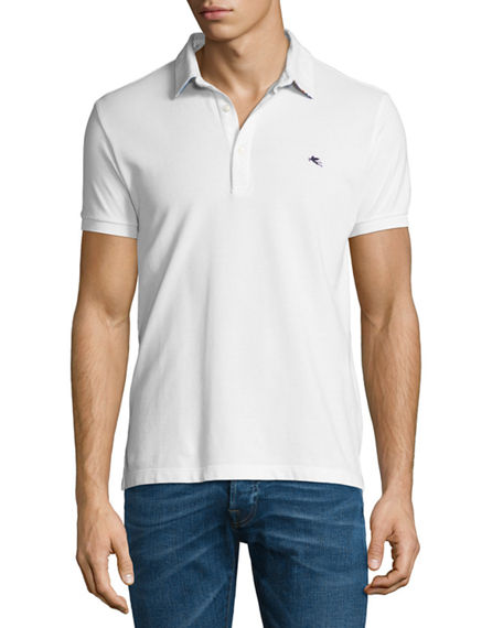 ETRO Paisley-Collar Polo Shirt, White