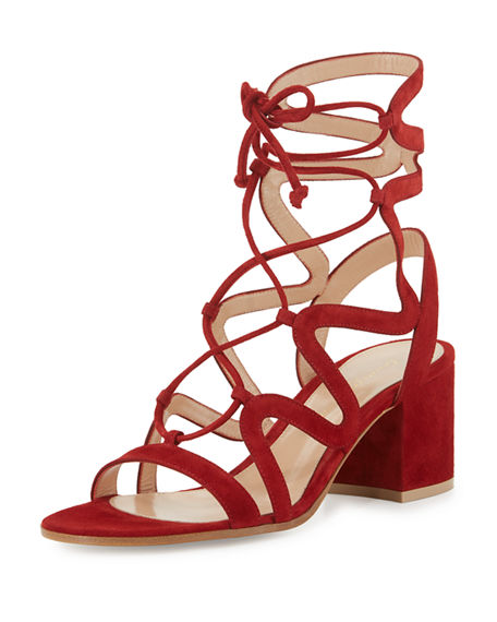 GIANVITO ROSSI Lace-Up Block-Heel 60Mm Suede Gladiator Sandal in Granata