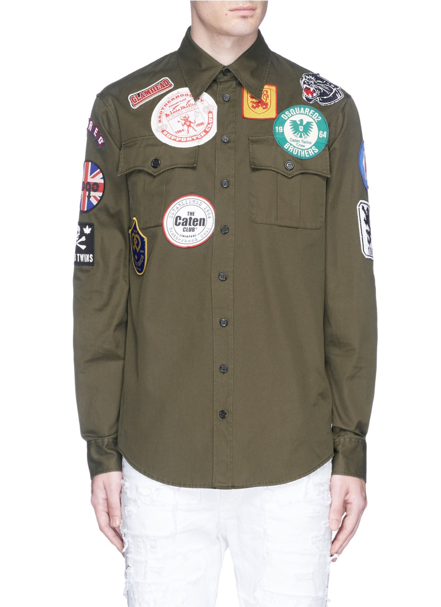 DSQUARED2 Logo Badge Cotton Twill Shirt in Verde Militare|Verde