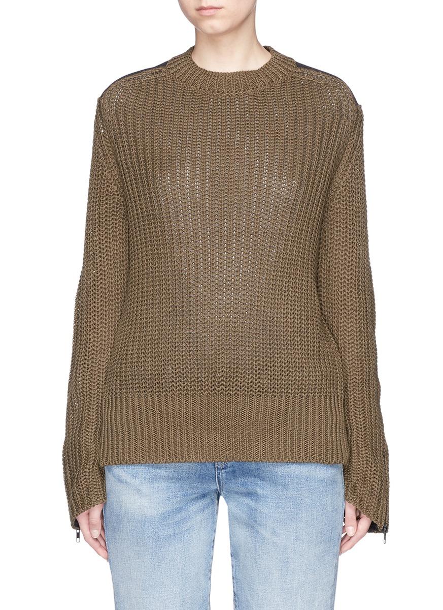 BASSIKE Twill Patch Chunky Rib Knit Military Sweater