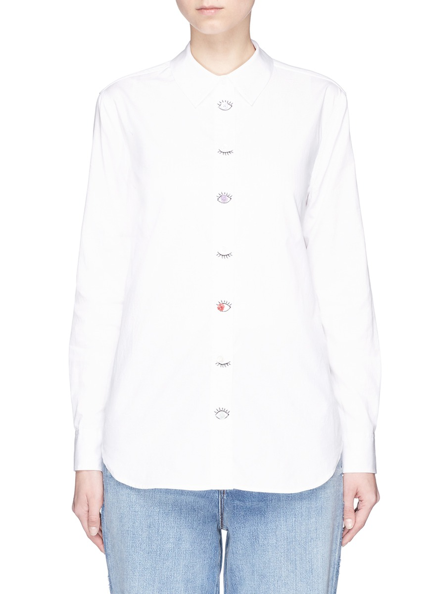 EQUIPMENT 'Reese' Eye Embroidered Placket Shirt