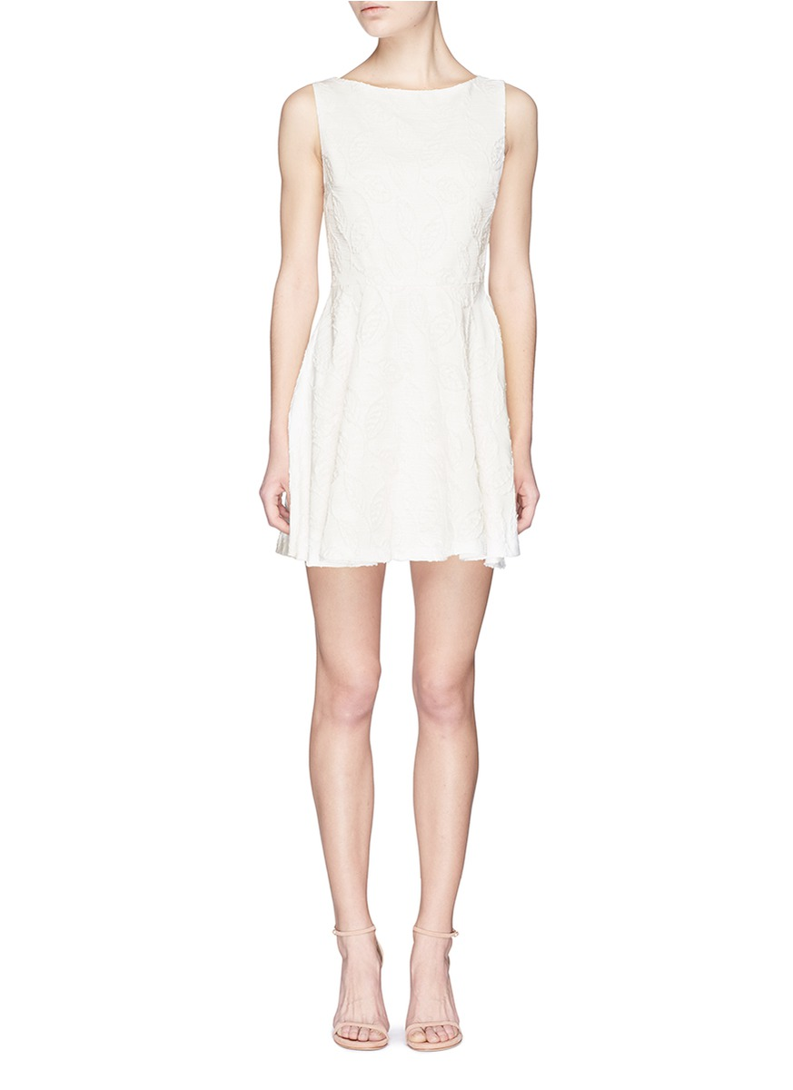 ALICE AND OLIVIA 'Ommi' Textured Leaf Motif Sateen A-Line Dress in White