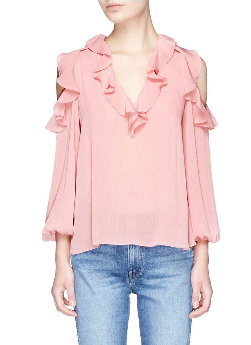 ALICE AND OLIVIA 'Gia' Ruffle Cold Shoulder Crépon Blouse