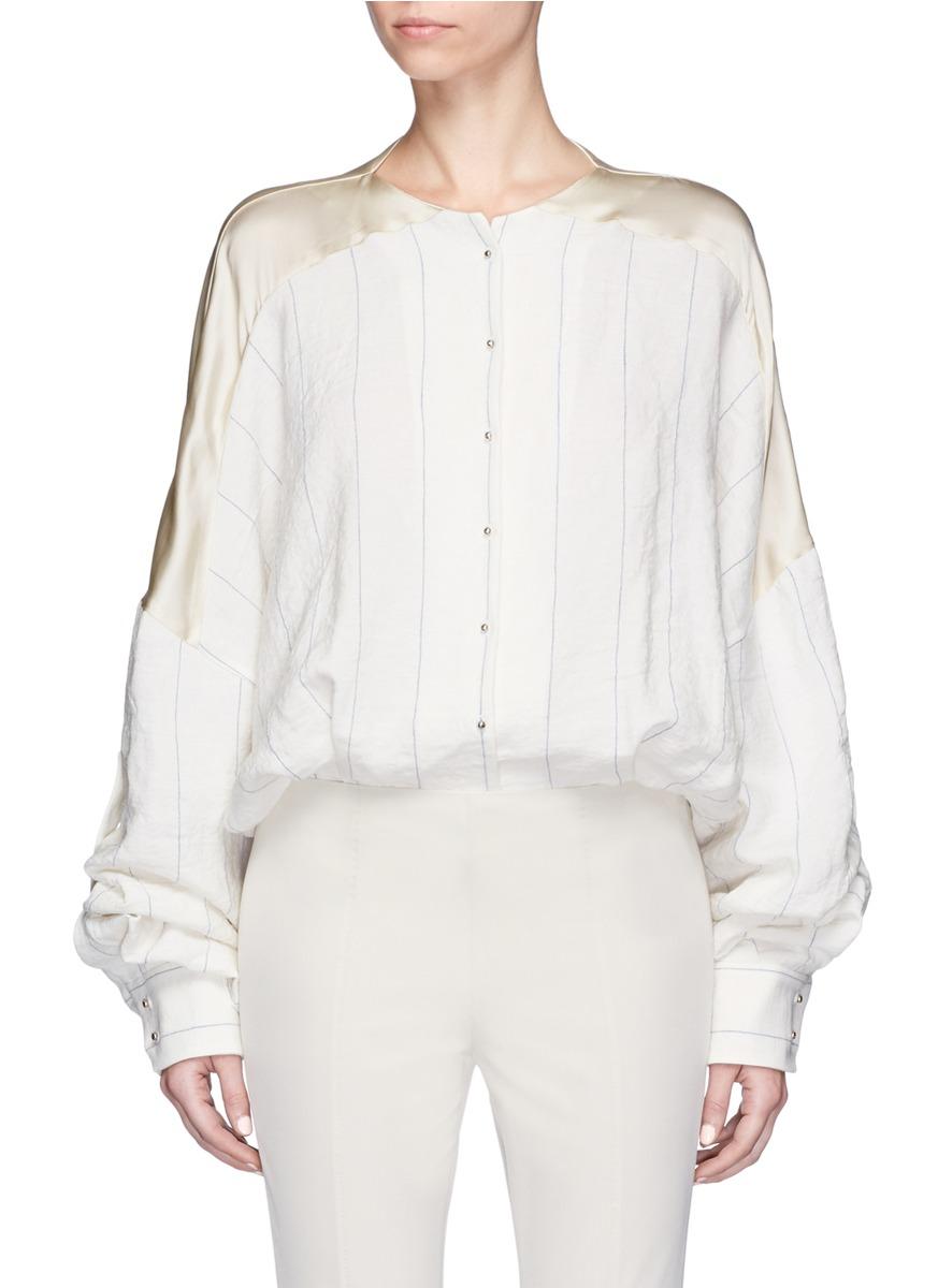 ESTEBAN CORTAZAR Stripe Satin Back Blouse Bodysuit in Ivory