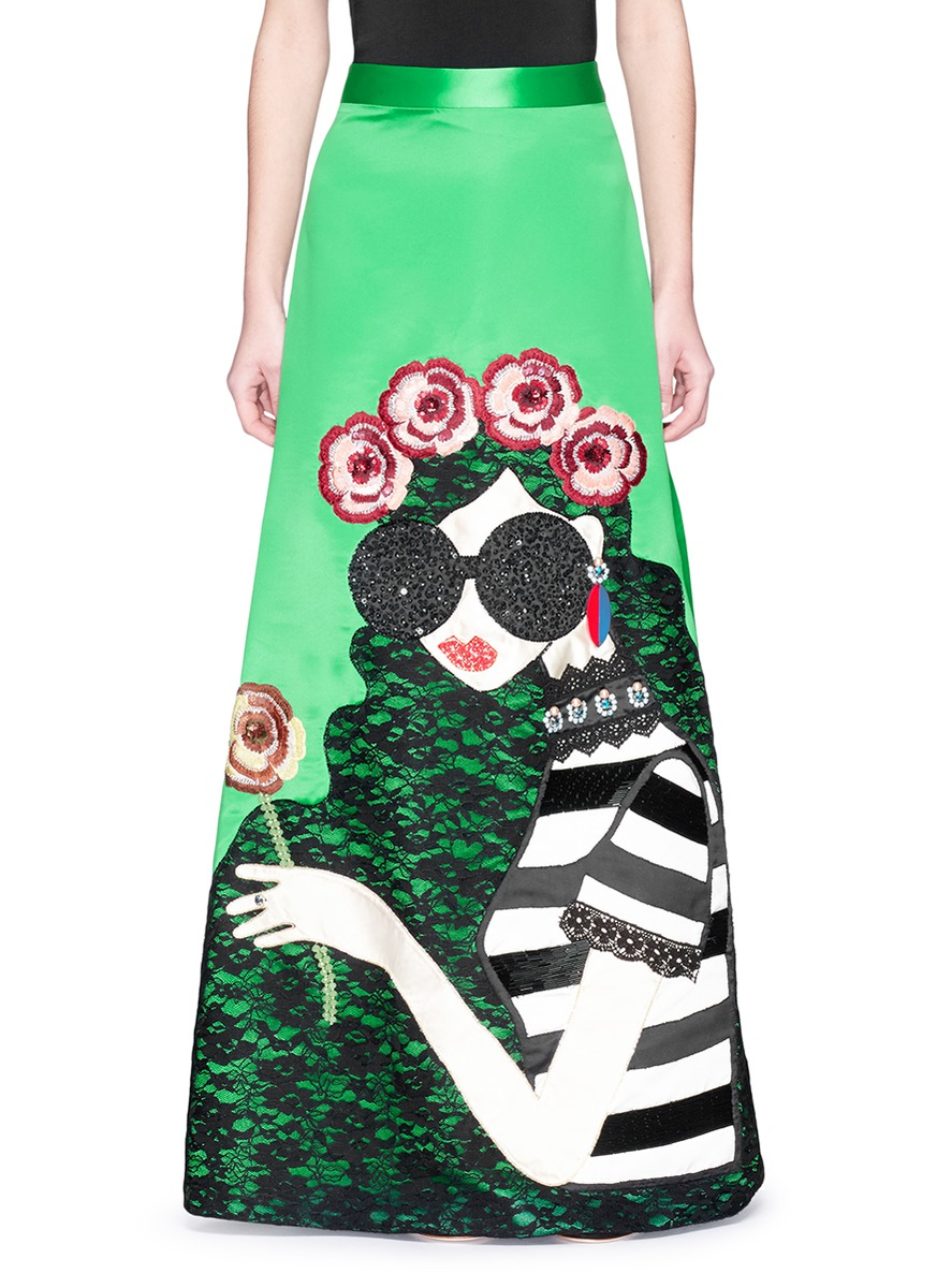ALICE AND OLIVIA Ursula Embellished Ball Gown Skirt - Kelly Green/Multi