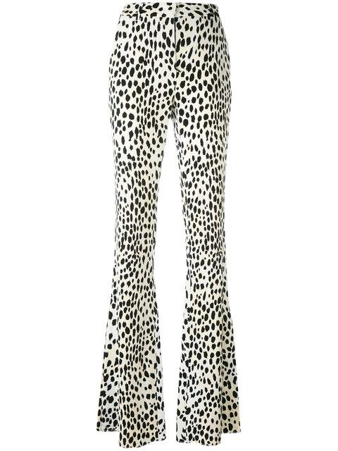 ROBERTO CAVALLI Flared Leopard Print Trousers