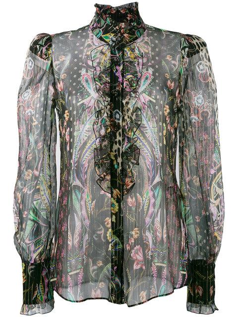 ROBERTO CAVALLI Mutton Sleeve Floral Blouse