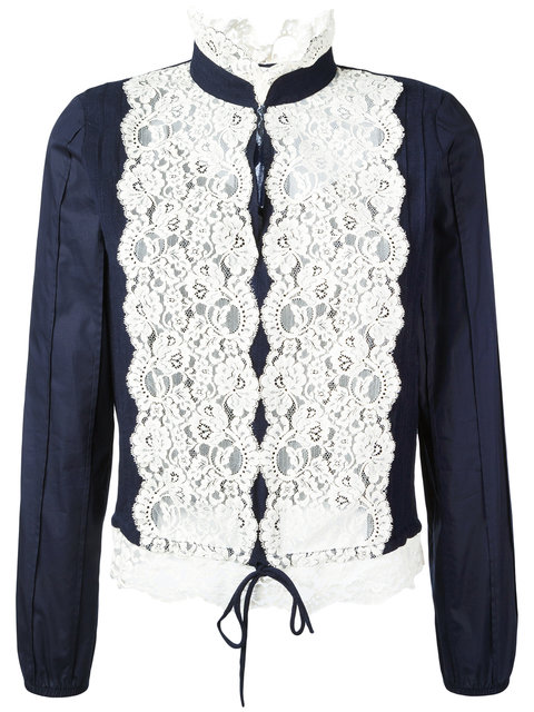 SEE BY CHLOÉ Long-Sleeve Pintucked Lace-Trim Blouse, Navy
