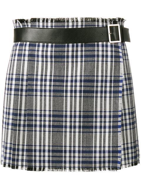 ALEXANDER MCQUEEN Plaid Pleated Wool Skirt in Grey Multi