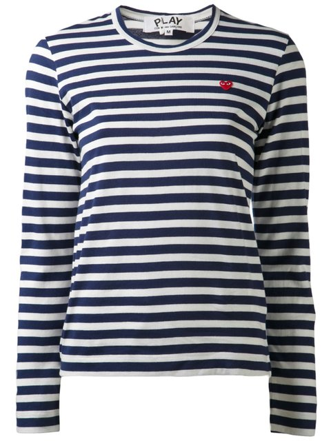 COMME DES GARÇONS PLAY Striped Long Sleeve T-Shirt in Navy/White