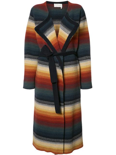 CHLOÉ Belted Stripe Cashmere Blend Coat in Multi