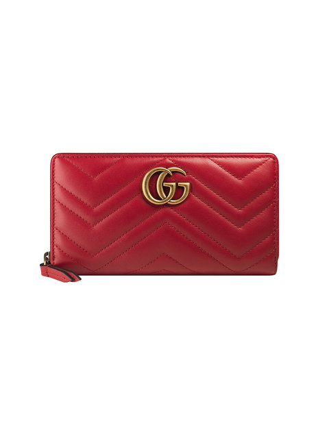 Gg Marmont Matelassé Leather Zip-Around Wallet in Red